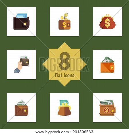 Flat Icon Wallet Set Of Pouch, Payment, Billfold And Other Vector Objects