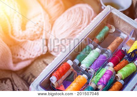 The Still Life Of A Tangle Of Pink Woolen Threads