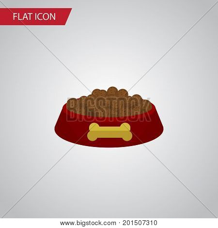 Dog Food Vector Element Can Be Used For Dog, Hound, Food Design Concept.  Isolated Hound Eating Flat Icon.