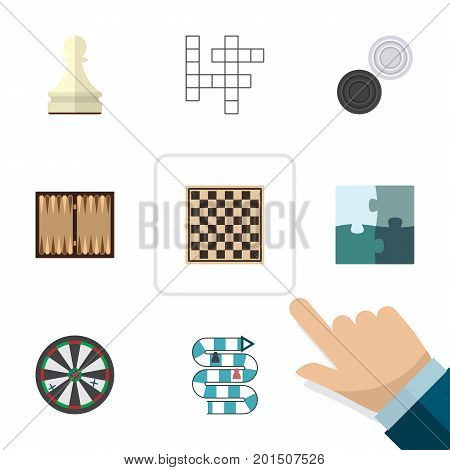 Flat Icon Games Set Of Chequer, Jigsaw, Dice And Other Vector Objects