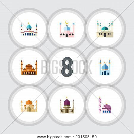 Flat Icon Minaret Set Of Islam, Traditional, Architecture And Other Vector Objects