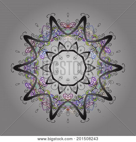 Flat design with abstract snowflakes isolated on colors background. Vector illustration. Vector snowflakes background. Snowflake colorful pattern. Snowflakes pattern.