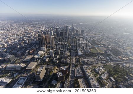 Aerial view down the Harbor 110 Freeway in downtown Los Angeles, California.