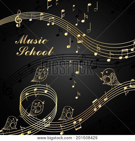 Vector illustration of singing birds and musical elements. Music school lettering.