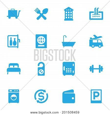 Collection Of Citizenship, Transportation, Chiller And Other Elements.  Set Of 16 Motel Icons Set.
