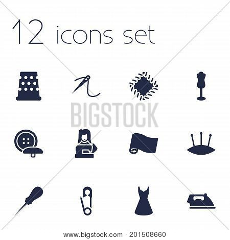 Collection Of Clothier, Evening Gown, Eyelet And Other Elements.  Set Of 12 Stitch Icons Set.