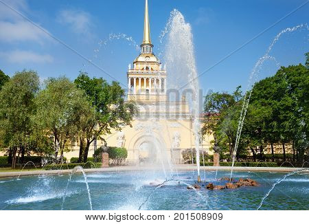The tower of the Admiralty building as seen from the Alexander Gardens, St. Petersburg, Russia