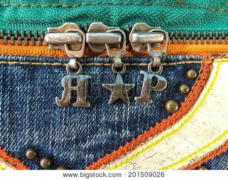 Close up jean zipper on jean plant