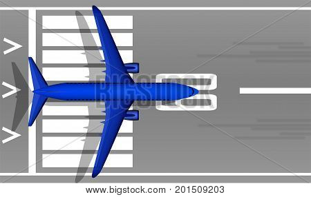 A Modern Jet Passenger Blue Plane On The Runway. View From Above. A Well-designed Image With A Mass