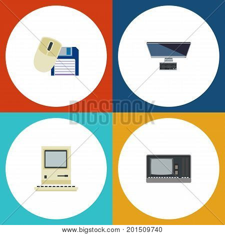 Flat Icon Laptop Set Of Computing, Computer Mouse, PC And Other Vector Objects