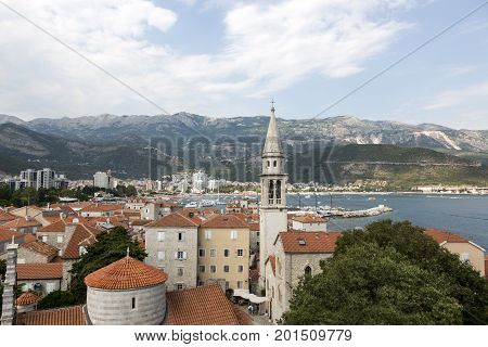 BUDVA, MONTENEGRO - AUGUST 03, 2017:View of the city of Budva from the observation deck of the ancient fortress Citadel Montenegro