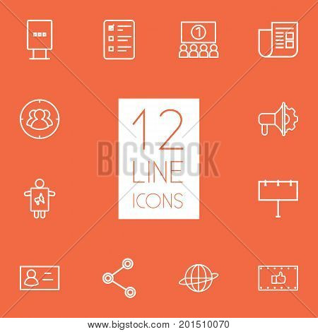 Collection Of Newspaper, Advertising Agency, Target And Other Elements.  Set Of 12 Commercial Outline Icons Set.