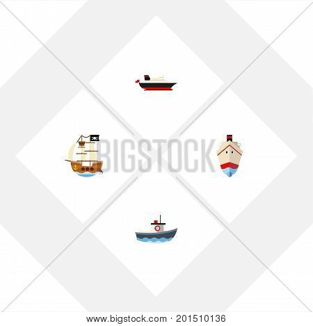 Flat Icon Vessel Set Of Transport, Delivery, Vessel And Other Vector Objects