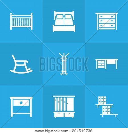 Collection Of Cot, Commode, Bookcase And Other Elements.  Set Of 9 Situation Icons Set.