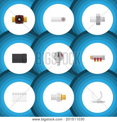 Flat Icon Sanitary Set Of Pipework, Connector, Tap And Other Vector Objects