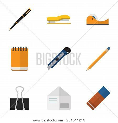 Flat Icon Stationery Set Of Supplies, Paper Clip, Nib Pen And Other Vector Objects