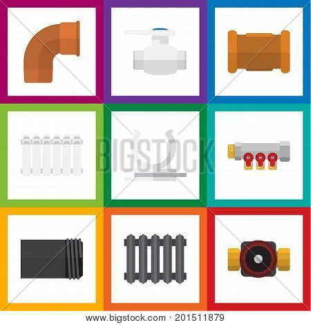 Flat Icon Sanitary Set Of Flange, Pipe, Pipework And Other Vector Objects