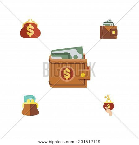 Flat Icon Billfold Set Of Money, Currency, Pouch And Other Vector Objects