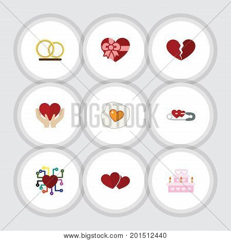 Flat Icon Passion Set Of Patisserie, Soul, Scrambled And Other Vector Objects