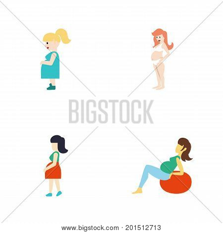 Flat Icon Pregnant Set Of Lady, Pregnant Woman, Pregnancy And Other Vector Objects