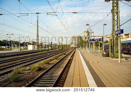 MunichGermany-August 262017: Empty platforms late in the afternoon at Munich East train station