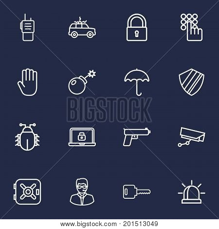 Collection Of Hand , Walkie-Talkie, Open Elements.  Set Of 16 Safety Outline Icons Set.