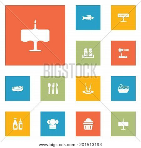 Collection Of Catsup, Food, Silverware And Other Elements.  Set Of 12 Bar Icons Set.