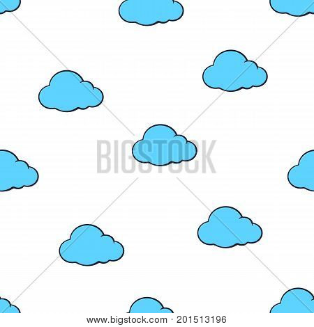 Vector illustration. Seamless pattern with cute blue clouds on white background. Weather symbol. Pattern with contour
