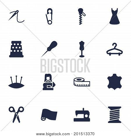 Collection Of Bodkin, Roll, Cutter And Other Elements.  Set Of 16 Tailor Icons Set.