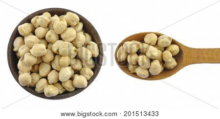 Chick peas in wooden spoon isolated on white background