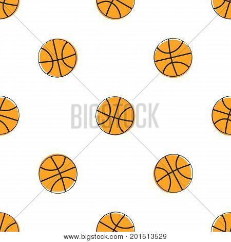 Vector illustration. Basketball ball. Sports equipment. Cartoon sticker in comics style with contour. Decoration for greeting cards, posters, patches, prints for clothes, emblems