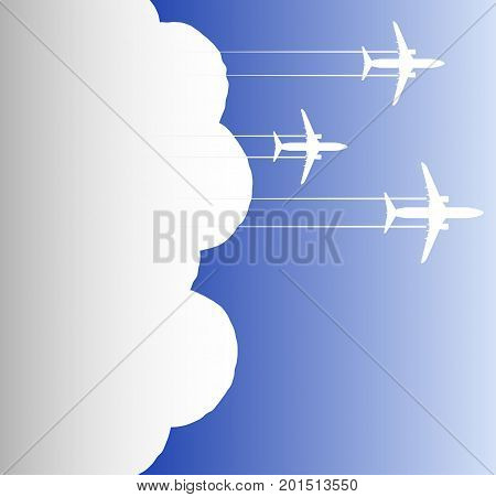 Three Jet Skis In The Sky And Large White Clouds Behind Them. Conceptual Background. Copy Space.