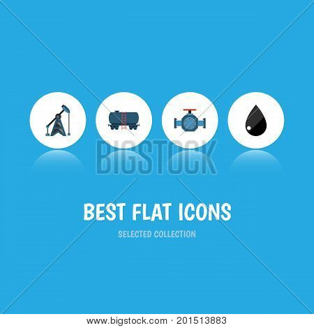 Flat Icon Petrol Set Of Flange, Rig, Container And Other Vector Objects