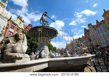Neptune's Fountain, Gdansk in Poland, old town