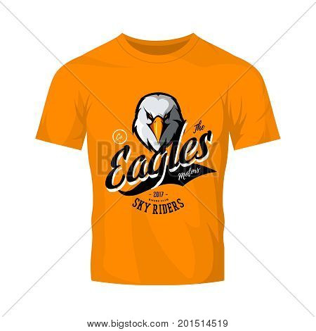 Vintage furious eagle bikers gang club vector logo concept isolated on orange t-shirt mockup. Street wear mascot badge design. Premium quality wild bird emblem t-shirt tee print illustration.