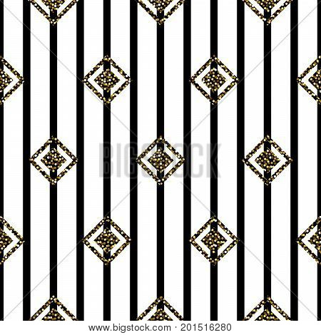Seamless rhombus black, gold and white pattern. Abstract geometric with glitter vector background.
