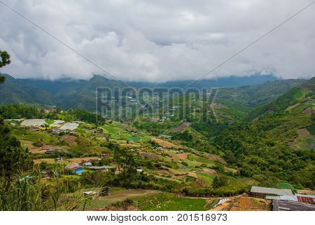 Mount Kinabalu View, Villages At The Foothill Of The Mountain. Sabah, Borneo, Malaysia