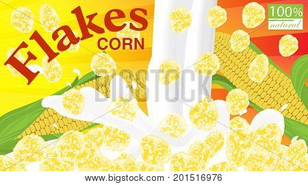 Corn flakes. Design for box. Milk pouring. Label for cereal package. Vector illustration.