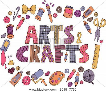 Bright colorful patchwork Arts and crafts text with set of doodle art icons.