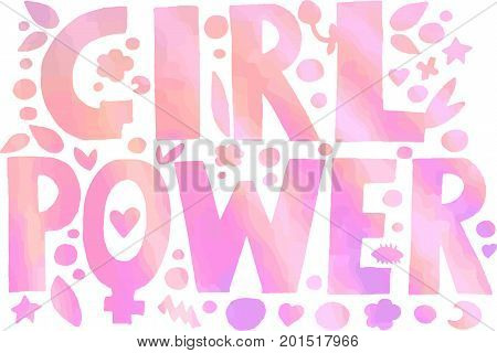 Psychedelic hippie Girl Power lettering with colorful flowers.Isolated on white background.Gradient effect.Drawing for prints on t-shirts and bags or poster.Vector