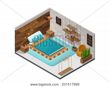 Bedroom isometric infographic 3d cozy interior with pallet diy wooden furniture, shelf, terrarium lamp, cactus, bed with lights, inside room view