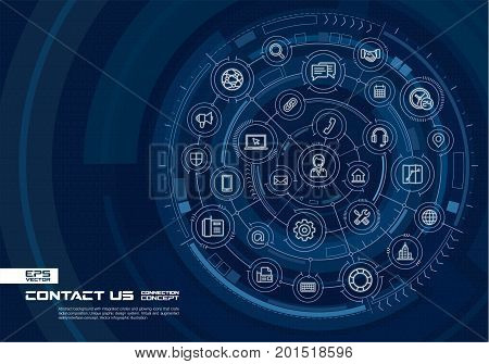 Abstract contact us, call center background. Digital connect system with integrated circles, glowing line icons. Virtual, augmented reality interface concept. Vector future infographic illustration