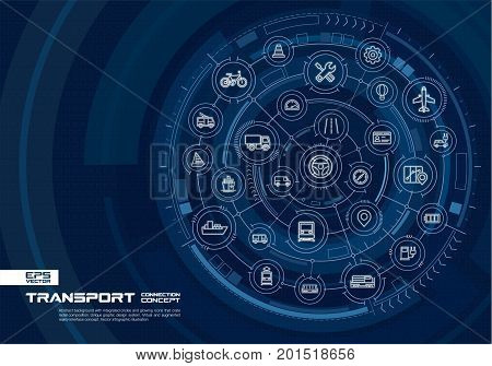 Abstract transportation background. Digital connect system with integrated circles, glowing thin line icons. Virtual, augmented reality interface concept. Vector future infographic illustration