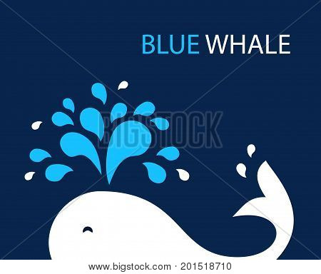 Vector illustration whale on dark background. Logo design template fountain and drop. Abstract original simple illustration for print, web. Layout for posters, flyers and banner.