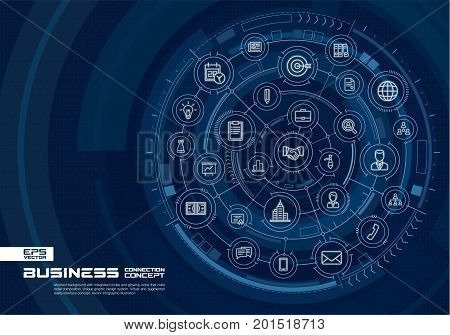 Abstract business strategy background. Digital connect system with integrated circles, glowing thin line icons. Virtual, augmented reality interface concept. Vector future infographic illustration