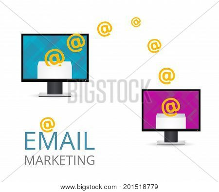 Email marketing. Conceptual illustration two computer with e-mails. Open the email on your computer. Vector envelope with the letter.