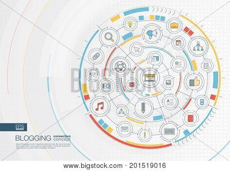 Abstract blogging background. Digital connect system with integrated circles, color flat icons. Interface design . Video content publish, follow, post writing concept. Vector infographic illustration