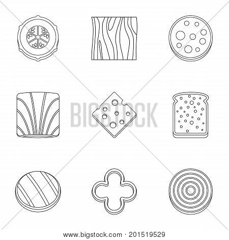 Eco sliced food icon set. Outline set of 9 eco sliced food vector icons for web isolated on white background