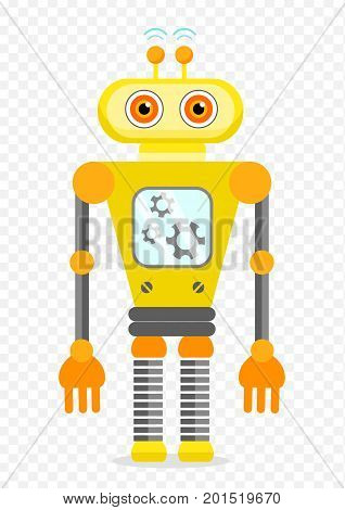 Yellow Cheerful Cartoon Robot Character With Two Antennas and Plot. Isolated vector robot on transparent background.