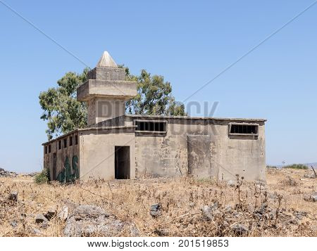 The ruined mosque remaining after the war of the Judgment Day (Yom Kippur War) on the Golan Heights near the border with Syria in Israel